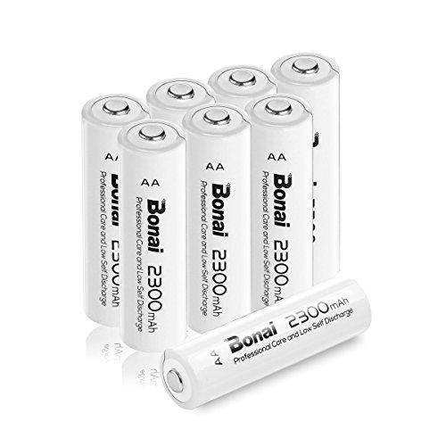 BONAI AA Batteria Ricaricabile 2300mAh Ni-MH 1200 cicli Confezione da 8 pezzi