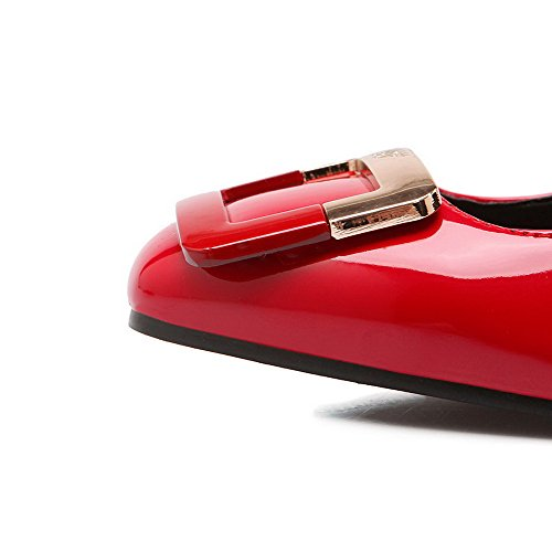 VogueZone009 Damen Lackleder Quadratisch Zehe Ziehen Auf Eingelegt Pumps Schuhe Rot