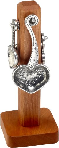 Crosby & Taylor Heart to Heart Pewter Measuring Spoon Set on Cherry Wood Display Post