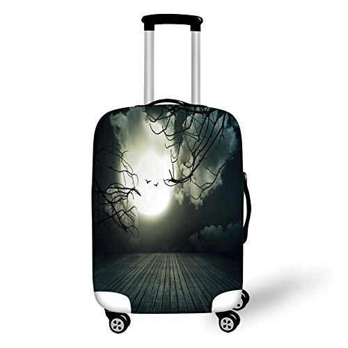 Travel Luggage Cover Suitcase Protector,Halloween,Wooden Planks Floor with Leafless Branches and Blurred Full Moon Mysterious Decorative,Black Grey White,for Travel,M