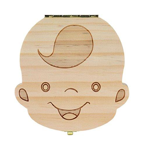 Sannysis Caja de almacenamiento de madera para Dientes de leche (Niños (Español))