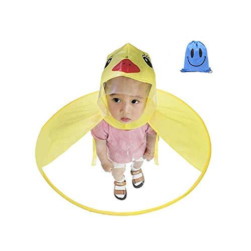 QHJ Regenponcho Kind, Kinder Gelbe Ente Regenmantel, süße Cartoon Ente Regen Mantel Kinder Regenschirm Hut Magische Hände Frei Regenmantel (Multicolor, L) -