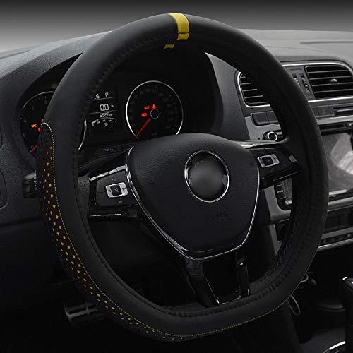 FELICIOO D-Art-Kunstleder-Lenkrad-Abdeckung für Volkswagen Golf Sagitar 38CM (Farbe : Gelb)