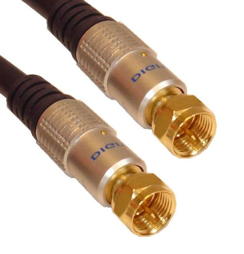 Cable Mountain - Cavo coassiale/satellitare Deluxe F-TYPE RG59 da 10 m con rivestimento dorato
