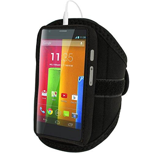 igadgitz u2929Handy Fall Schwarz Handy-Schutzhüllen Armband für Mobiltelefone (Armband Fall, Motorola, Moto G Moto E & Moto X, schwarz) Motorola X Generation 1 Fall