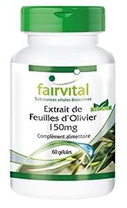 Feuilles d'olivier Extrait (Olea europaea) 150 mg avec 20% d'oleuropéine - 60 gélules