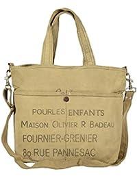 Priti Vintage Design Handbag Tote Bag Travel Bag In Washed Canvas Leather - B0791FPDR1