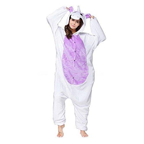 Wenyujh Damen Mädchen Tier Schlafanzug Cartoon Einhorn Cosplay Flanell Pyjamas Fasching Halloween Kostüm Jumpsuit Overall (Flanell-kinder-pyjama)