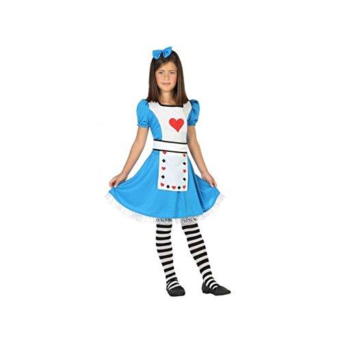 (ATOSA 56336 Kostüm für Mädchen Costume Alice 10-12, Blau/Weiss/Rot, 10 a 12 años)