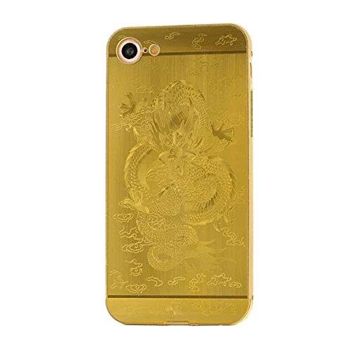 iPhone 7 Luxus Metall Aluminium Rahmen Hülle CHENXI Neo Ultra-dünne Hinteres Bedienfeld + Metall Aluminium Rahmen Protection Schutzhülle mit Schöne Muster für iPhone 7 (4.7 Inch) Gold