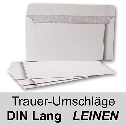 100x Trauerumschlag mit Leinenstruktur und Schattenrand // Haftklebung // DIN Lang 22 x 11 cm – 100 g/m² // Trauerhülle – Briefumschlag