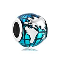 NH Jewelry Ocean Blue Earth World Globe Charm Beads For Bracelets