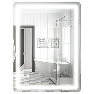 COSTWAY Schminkspiegel mit LED-Beleuchtung, beleuchteter Badezimmerspiegel,vertikale Wandmontage, LED-Streifen (80 x 60cm)