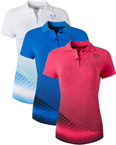 6a5365da58 Jeansian Mujer Deportes Transpirable Camiseta T-Shirt Slim Polo Tops  3 Packs SWT251 PackF