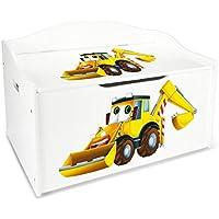Preisvergleich für Leomark Groß Holz Kindertruhenbank XL Kinderbank Truhenbank Motiv: Bagger. Behälter für Spielzeug, Sitzbank mit Stauraum für Spielsachen