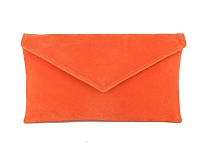 LONI Real British Hand Made Clutch/Shoulder Bag Neat Envelope, Faux Suede in Orange
