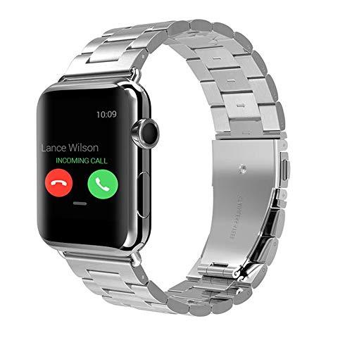 GZQ Ersatz-Armband für Apple Watch, 42 mm, 38 mm, Edelstahl, verstellbares Armband für Damen und Herren, Silber, 42mm