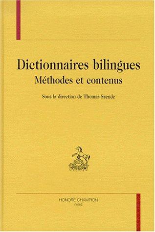 Dictionnaire bilingues : méthodes et contenus