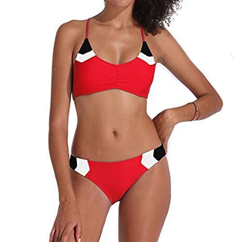 SHE.White Damen Farbabstimmung Bandage Bikini Badeanzug Zweiteiliger Neckholder Bikini Set Push Up Tankini UV Schutz Swimmwear