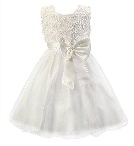 dchen Prinzessin Schwingen Kleid Festlich Taufkleid Hochzeit Tüll mit Blumen Muster Dekor Ärmellos Weiß Gr.98-104 (Schlichte Weiße Halloween-kleid)