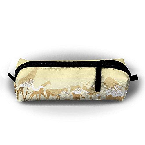 Wild-tier-silhouette (Wild Tiere Silhouetten Student Federmappe mit Reißverschluss Kosmetiktasche Tasche klein Münzfach?, für Kinder Teenager und anderen Schulbedarf)