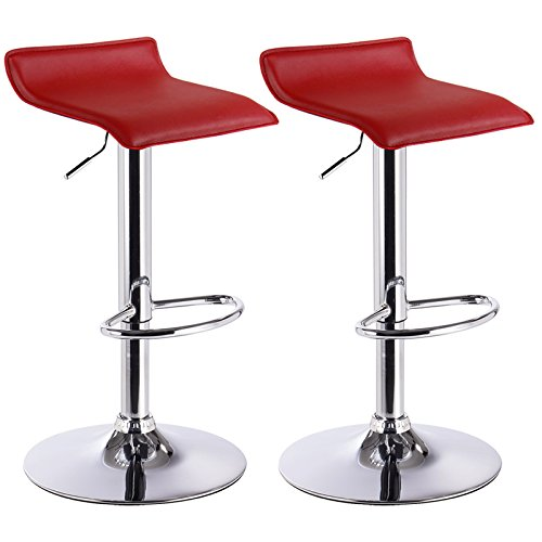 Woltu bh11bd sgabelli da bar sedia club cucina alta con poggiapiedi similpelle cromato regolabile girevole moderni classici bordeaux coppia 2 pezzi