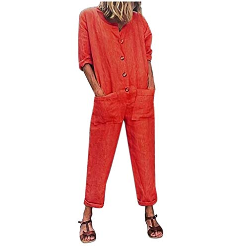 Makefortune  Fashion Women Loose Overall Long Sleeve Solid Playsuit Round Neck Button Down Jumpsuit Dungarees with Pocket -