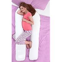 Sleepdove, cuscino per gravidanza, cuscino a U in lussuoso cotone per supporto in gravidanza e allattamento, con fodera con cerniera, colore bianco, Cotone, White, 12ft (Large)