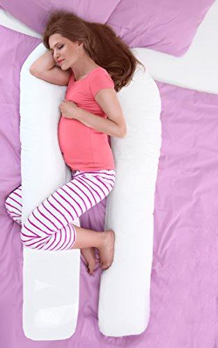 Sapphire Collection Schwangerschafts-Kopfkissen, Schwangerschaft-unterstützendes U-Kissen, Stillkissen, U-Form-Kissen mit Reißverschluss, luxuriöse Baumwolle, weißer Kissenbezug., baumwolle, weiß, 12ft (Large) (Erholsamen Bein-unterstützung)