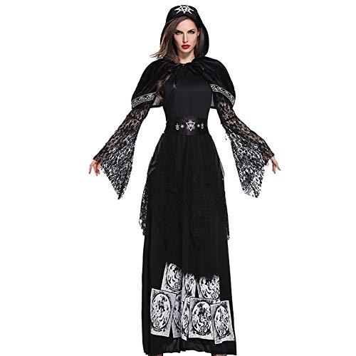 NFY Vestito con Cappuccio Sexy Halloween Donna Costume Strega Spaventoso Adatto Festa Abbigliamento Masquerade,XL