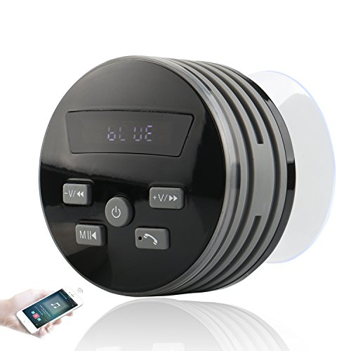 Expower IPX7 Bluetooth Lautsprecher,Mini Bluetooth Lautsprecher mit FM Radio 5W Tragbarer Duschradio Wasserdichte Wireless Lautsprecher Freisprecheinrichtung für Outdoor, Dusche Grau