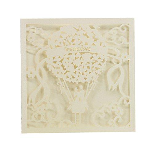 20pcs Vintage Spitze Elegante Hochzeit Party Einladungskarten - Weiß 1, 150 * 150mm
