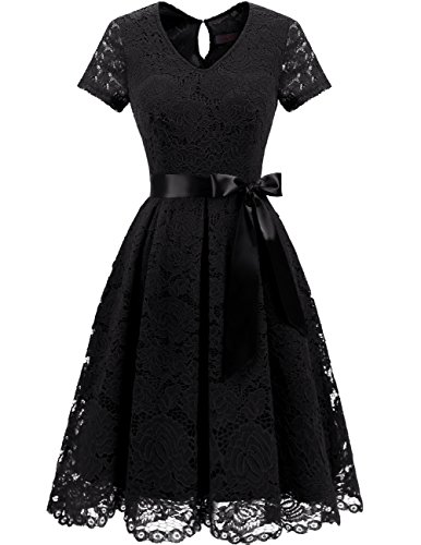 Dresstells Damen Spitzenkleid Herzform Elegant Cocktail Abendkleid Blush S