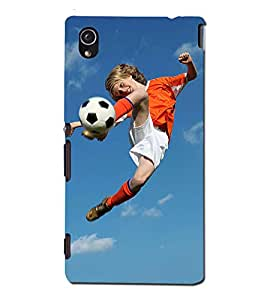 Blue Throat a boy kicking a foot ball Back Case Cover for Sony Xperia M4 Aqua :: Sony Xperia M4 Aqua Dual