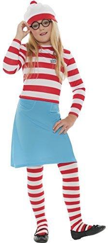 Familie Herren Damen Jungen Mädchen Kinder Where's Wally Waldo Wenda Buch Tag Paar Halloween Prty Kostüm Kostüme Outfits - Mädchen, 4-6 Jahre