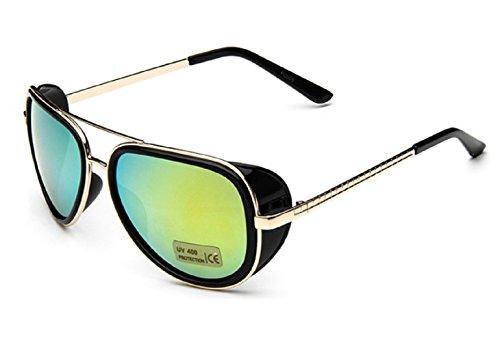 (M1 Golden Frame Grün Lens) Sonnenbrille Modell Steampunk Iron Man Tony Stark Retro Herren Damen Unisex