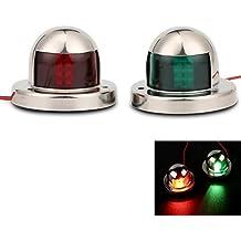 onerbuy LED Navegación lazo luz acero inoxidable 12V Marine barco yate luz vela lámpara de señal, color rojo y verde