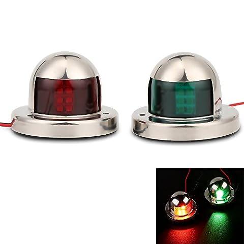 Onerbuy LED Navigation Nœud lumière en acier inoxydable 12V Lampe Marine Bateau Yacht Sailing Signal clair, rouge et vert