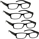 The Reading Glasses Company Black Lightweight Comfortable Readers Value 4 Pack Designer Style Mens Womens UVR4PK032 Strength +3.50