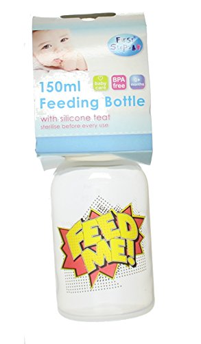 First Steps Comic Pop Art Slogan Bébé Feeding Bottle JauneLid 150ml - Feed Me!