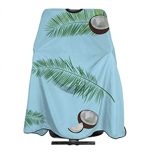 Professional Barber Cape Tropical Coconut Palm Leaves Salon Haircut Aprons Hair Styling Gown For Coloring Perming Hair Cutting Treatment Shampoo Chemical Proof Hairdresser 55