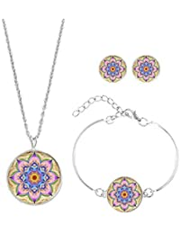bb6b3c63d76e Scrox 3pcs Juego de Joyas Mujeres Conjunto Plata Moda Joyería Boho Collar  Flor de Mandala Cristales Colgante Rhinestone Pulsera Anillo…