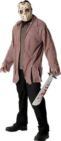 Horror Jason Kostüm mit Maske Und Messer für Erwachsene (Jason Kostüm Freitag Der 13.)