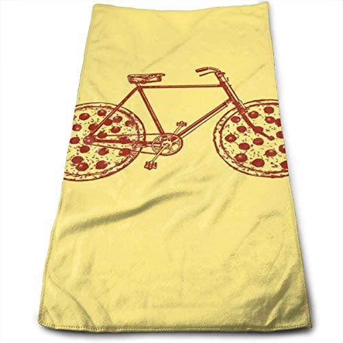 Tyueu Face Towels Gesicht Handtücher Pizza Bike Quick-Dry Hand Towels Bathrooms Spa Pool and Gym 11.8x27.5