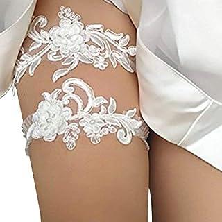 GEZICHTA 2 STÜCKE Frauen Hochzeit Strumpfband Set, Blume Blatt Stil Spitze Braut Strumpfband Braut Elastische Strumpfband für Braut Pailletten Strumpfbänder Set (weiß)