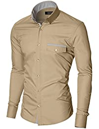 MODERNO - Casual Slim Fit Manches Longues Chemise Homme (MPSF301)