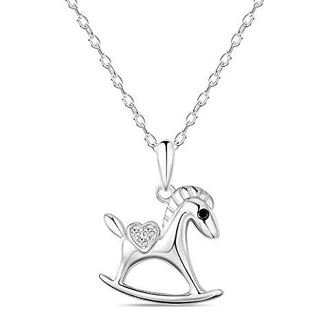sweetiee-collier aus reinem Silber 925Sterling Damen, Anhänger Pferd mit einem Herz Micro Pave Zirkonia AAA, platin, 400mm