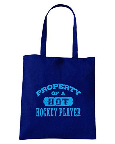 T-Shirtshock - Borsa Shopping OLDENG00353 property of a hot hockey player Blu Navy