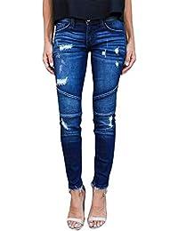Yidarton Femme Jeans Déchiré Push Up Skinny Slim Fit Stretch Boyfriend Denim  Jean Troué Pantalons Jeggings a3f85da312d6