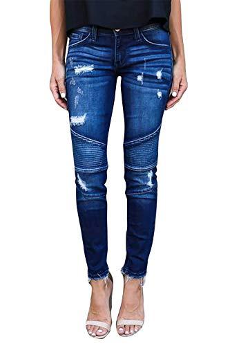 Yidarton Jeans Damen Jeanshosen Röhrenjeans Skinny Slim Fit Stretch Stylische Boyfriend Jeans Zerrissene Destroyed Jeans Hose mit Löchern Lässig (Blau, Medium)